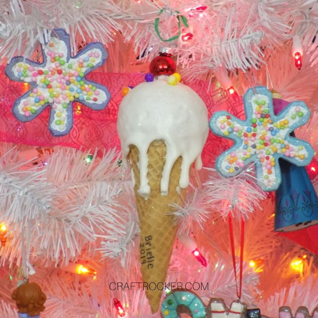 Close Up of Ice Cream Cone Ornament on Candy Christmas Tree - Craft Rocker