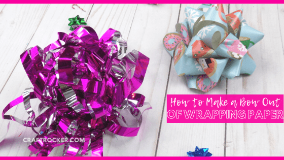 Close Up of Paper Gift Bows on Wood Background with text overlay - How to Make a Bow Out of Wrapping Paper - Craft Rocker
