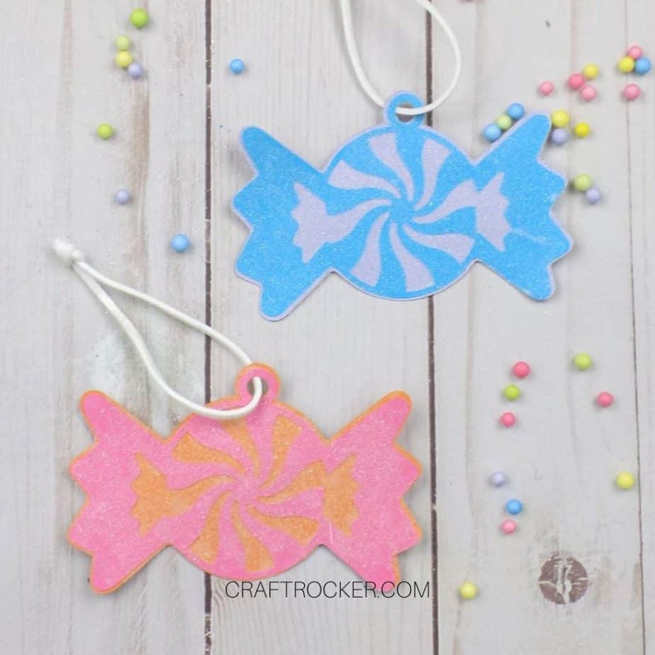 Close Up of Pink and Blue Glittery Paper Candy Ornaments - Craft Rocker