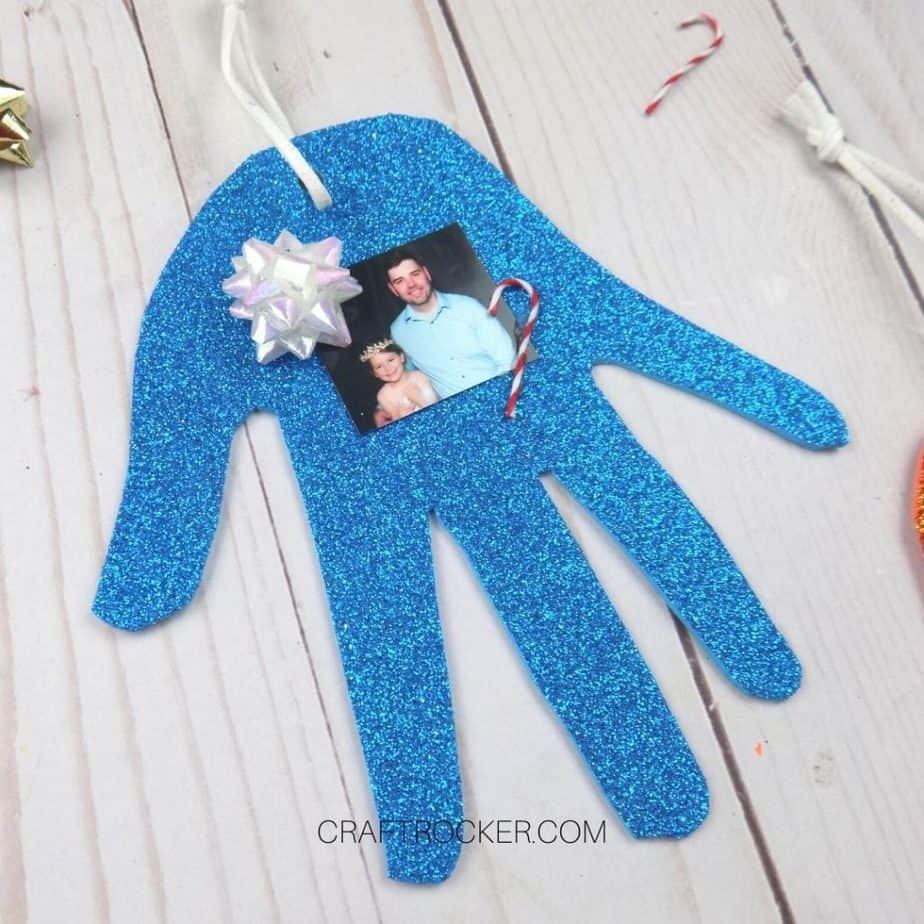 Close up of Blue Glitter Handprint Ornament - Craft Rocker