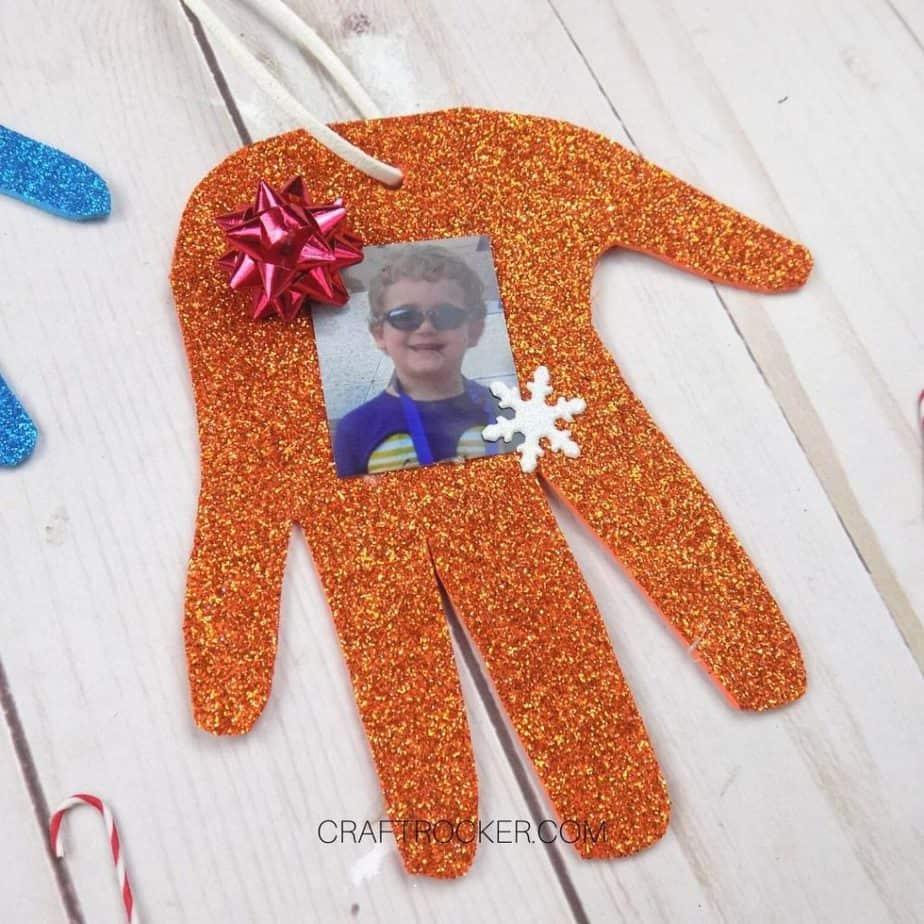 Close up of Orange Glitter Handprint Ornament - Craft Rocker