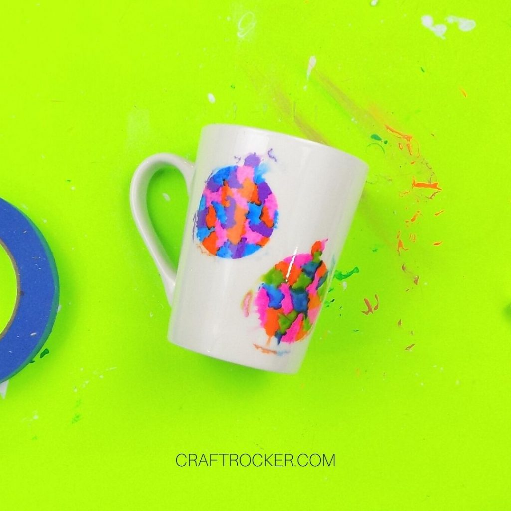 Colorful Ornaments on White Mug with Paint Bleed - Craft Rocker