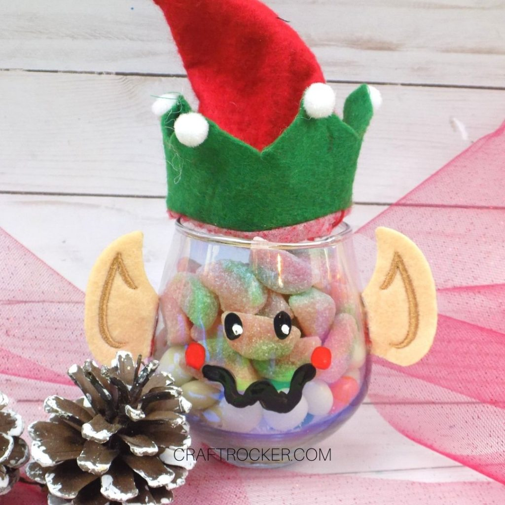 Elf Treat Jar next to Pine Cones - Craft Rocker