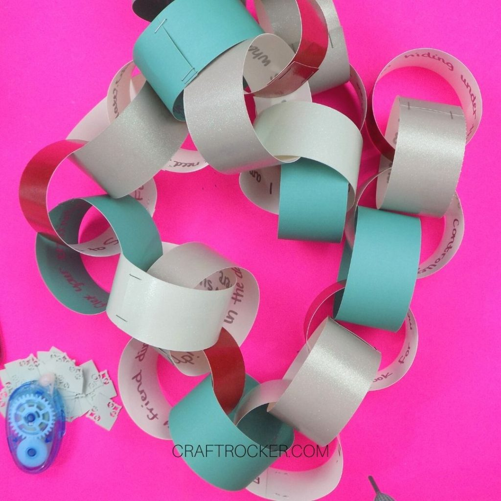 Finished Paper Chain on Pink Background - Craft Rocker