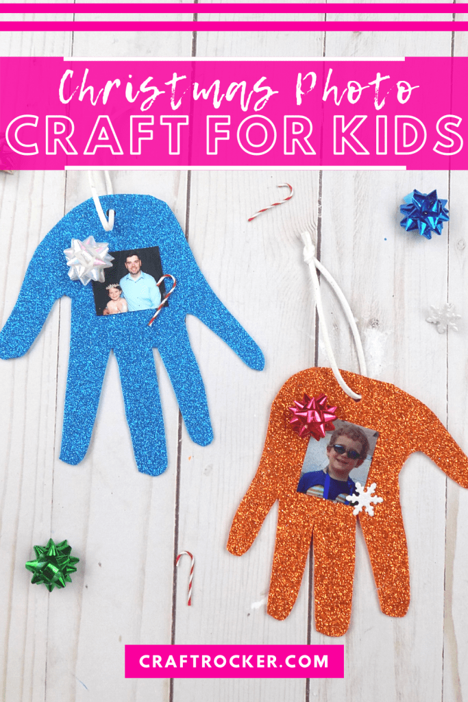 Handprint Ornaments on Wood Background with text overlay - Christmas Photo Craft for Kids - Craft Rocker