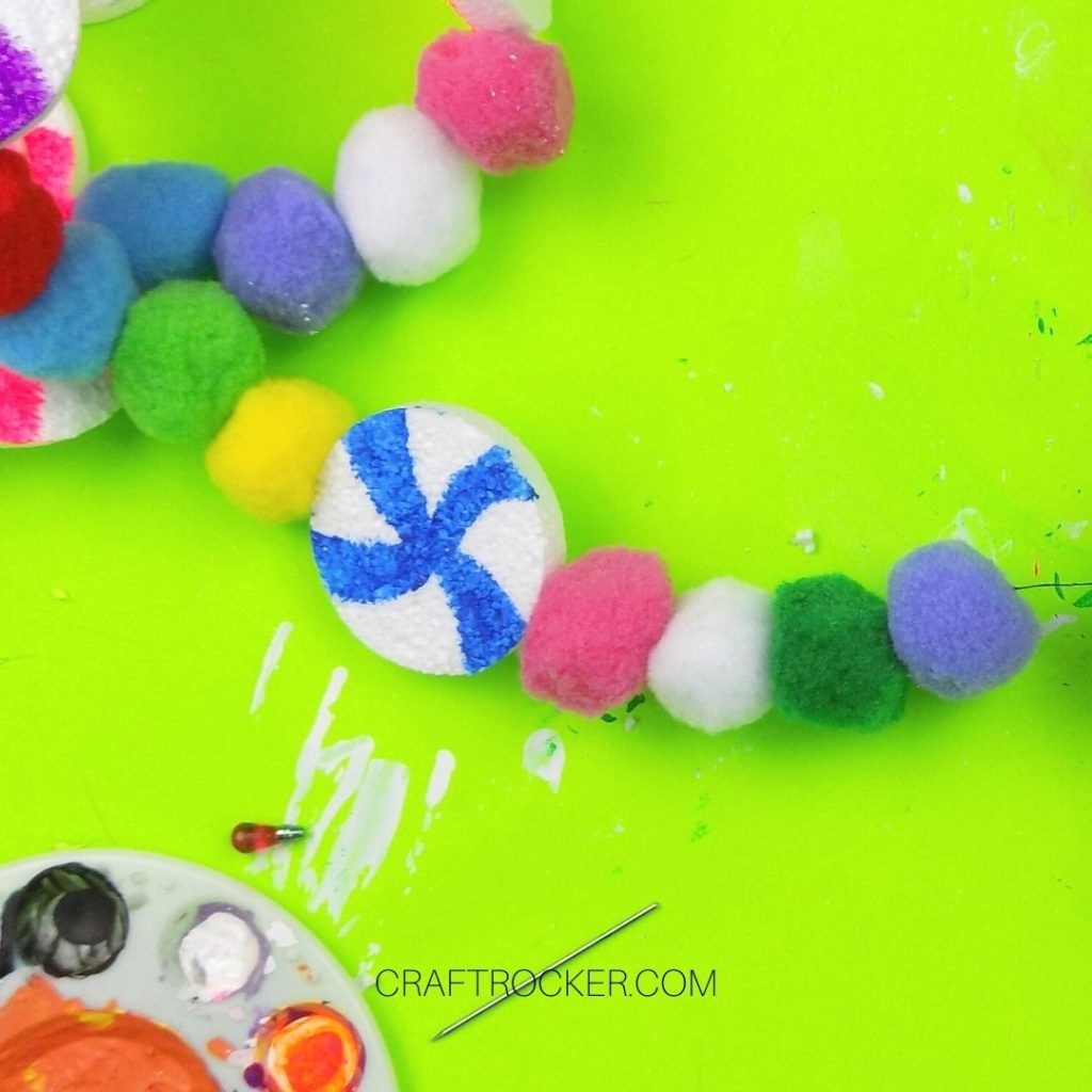 Multiple Pompoms and Blue Candy on Thread - Craft Rocker