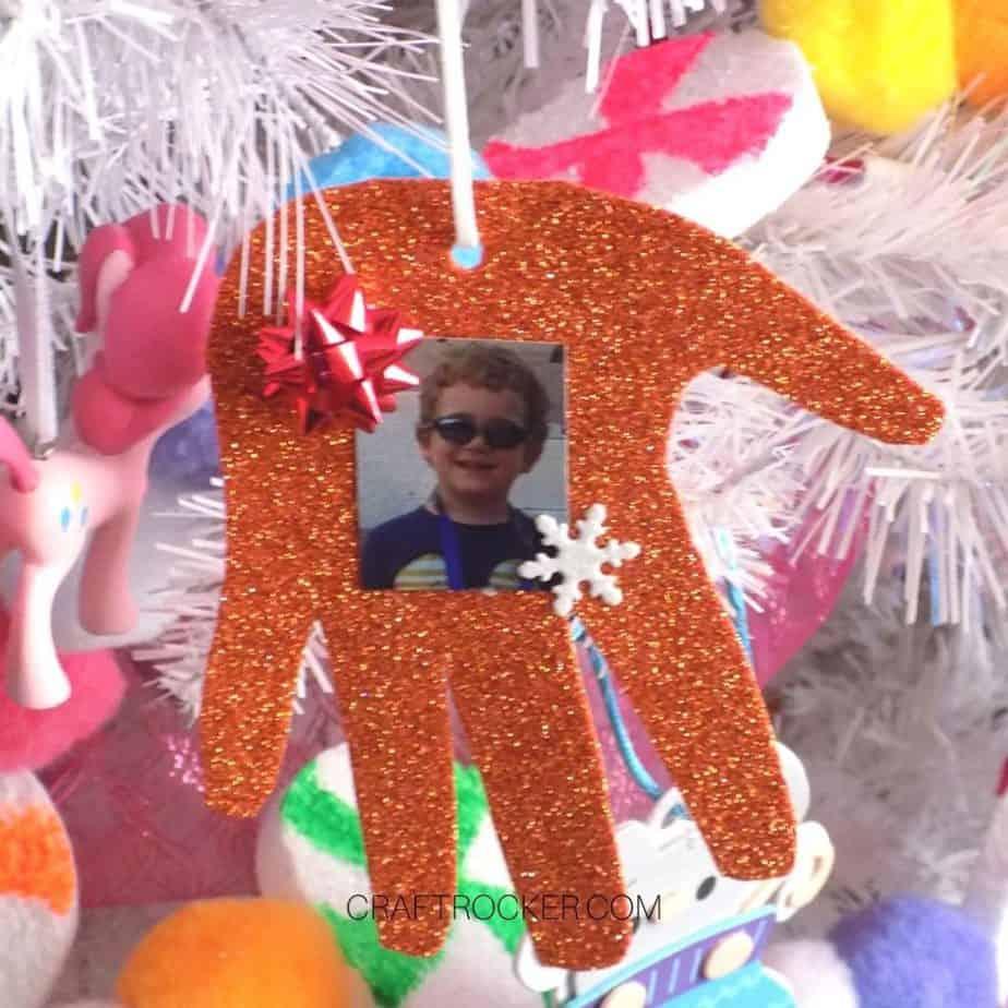 Orange Glitter Handprint Ornament on Tree - Craft Rocker