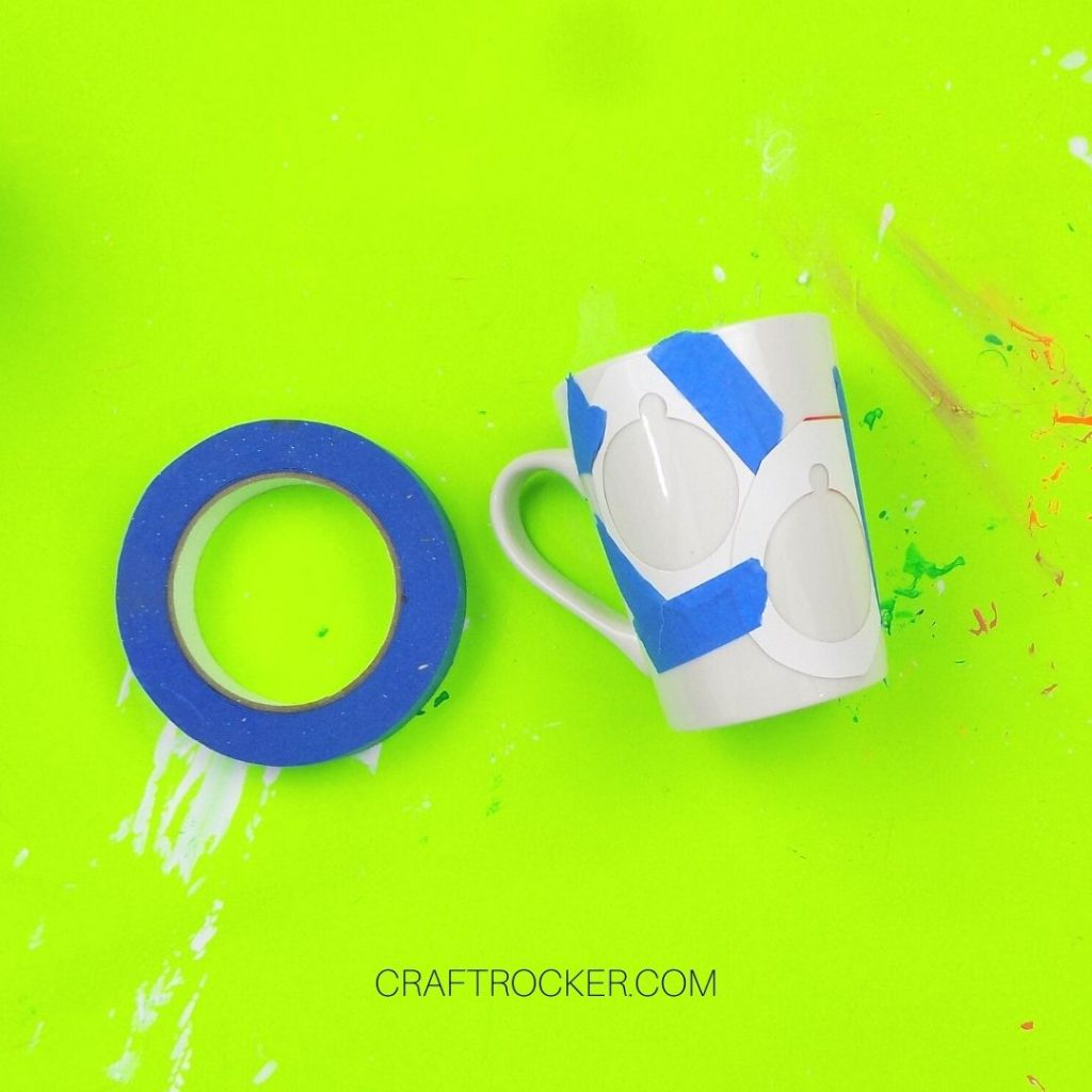 Ornament Outlines Taped to White Mug - Craft Rocker