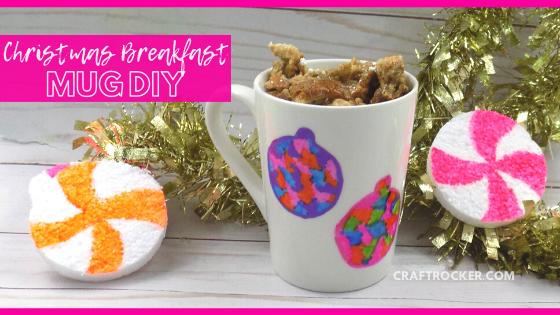 Ornament Sharpie Mug on Wood Background with text overlay - Christmas Breakfast Mug DIY - Craft Rocker