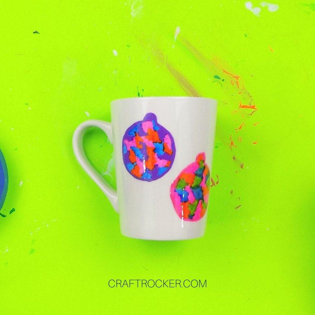 Outlined Ornaments on White Mug - Craft Rocker