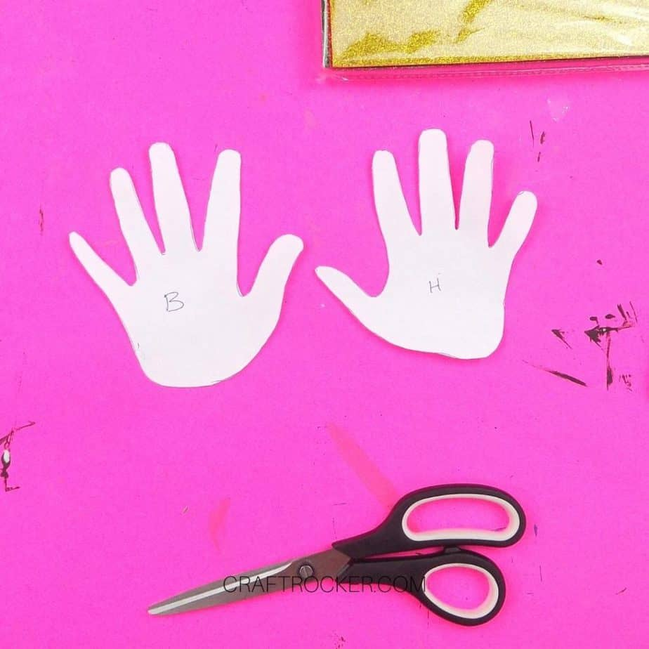 Paper Handprints next to Scissors - Craft Rocker