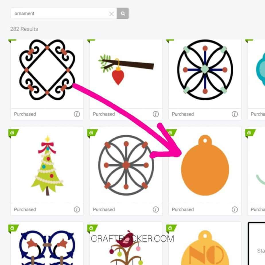 Pink Arrow Pointing to Orange Ornament File on Search Page - Craft Rocker