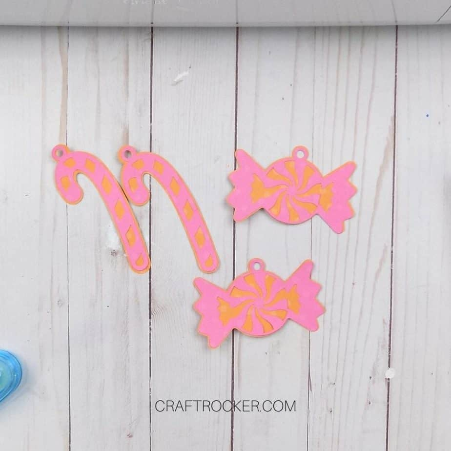Pink and Orange Paper Candy Canes and Candies - Craft Rocker