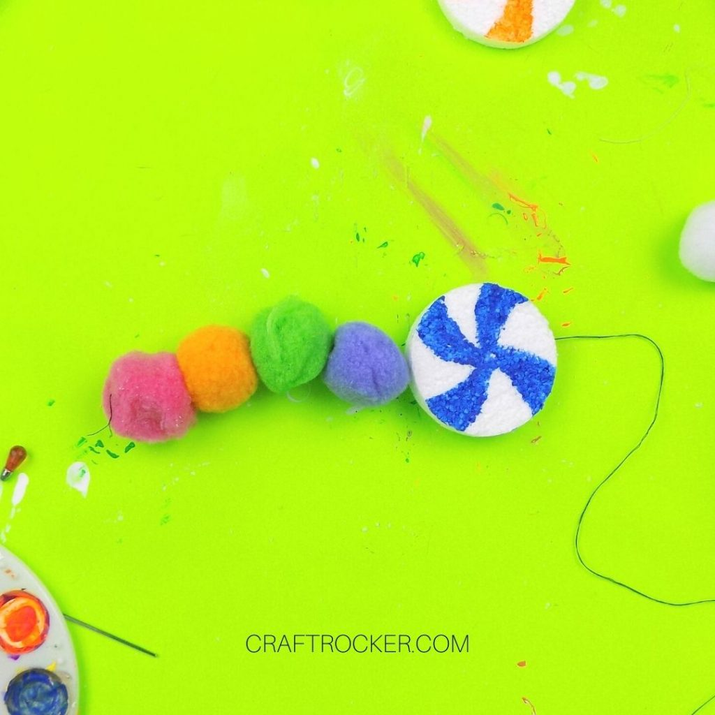 Pompoms and Blue Candy on Thread - Craft Rocker