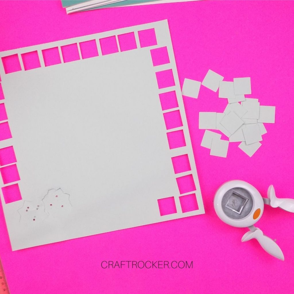 Punched Cardstock Squares next to Paper Punch - Craft Rocker