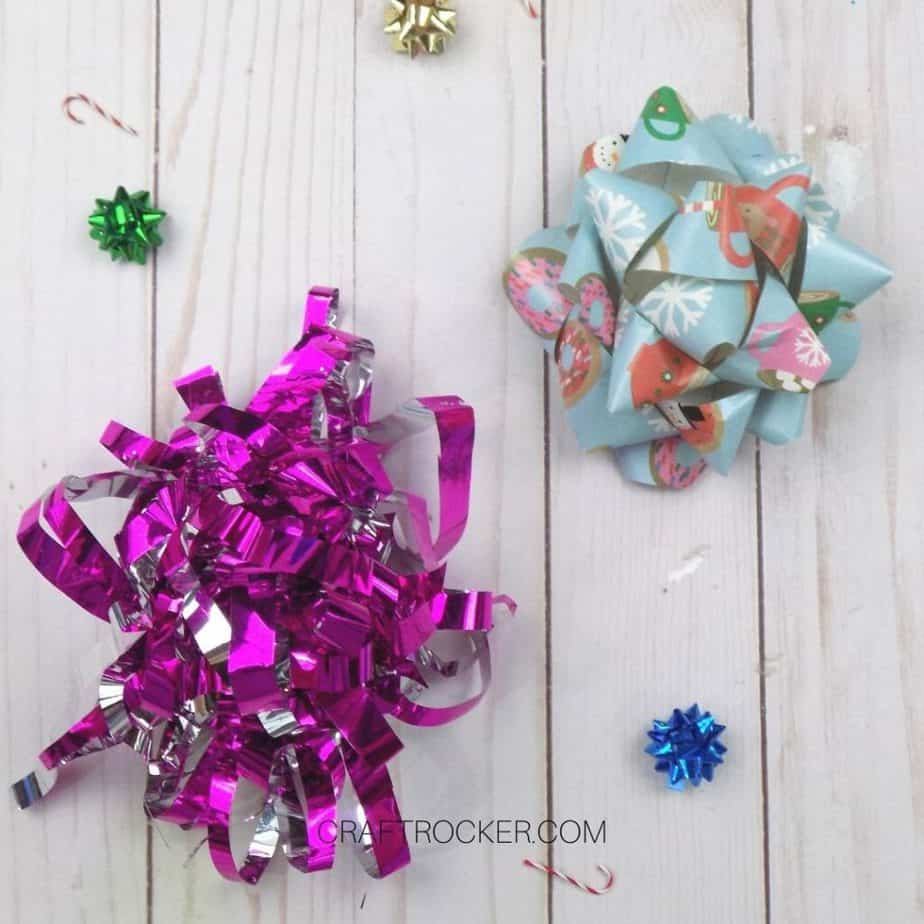 Traditional and Curled Wrapping Paper Bows on Wood Background - Craft Rocker