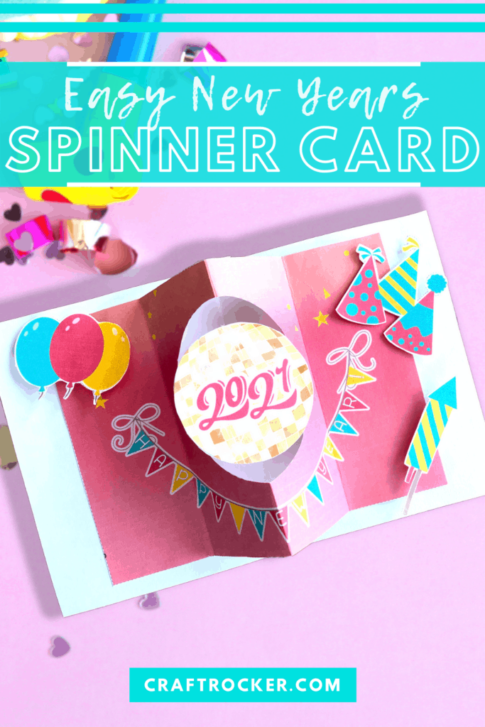 2021 Disco Ball Card with text overlay - Easy New Years Spinner Card - Craft Rocker