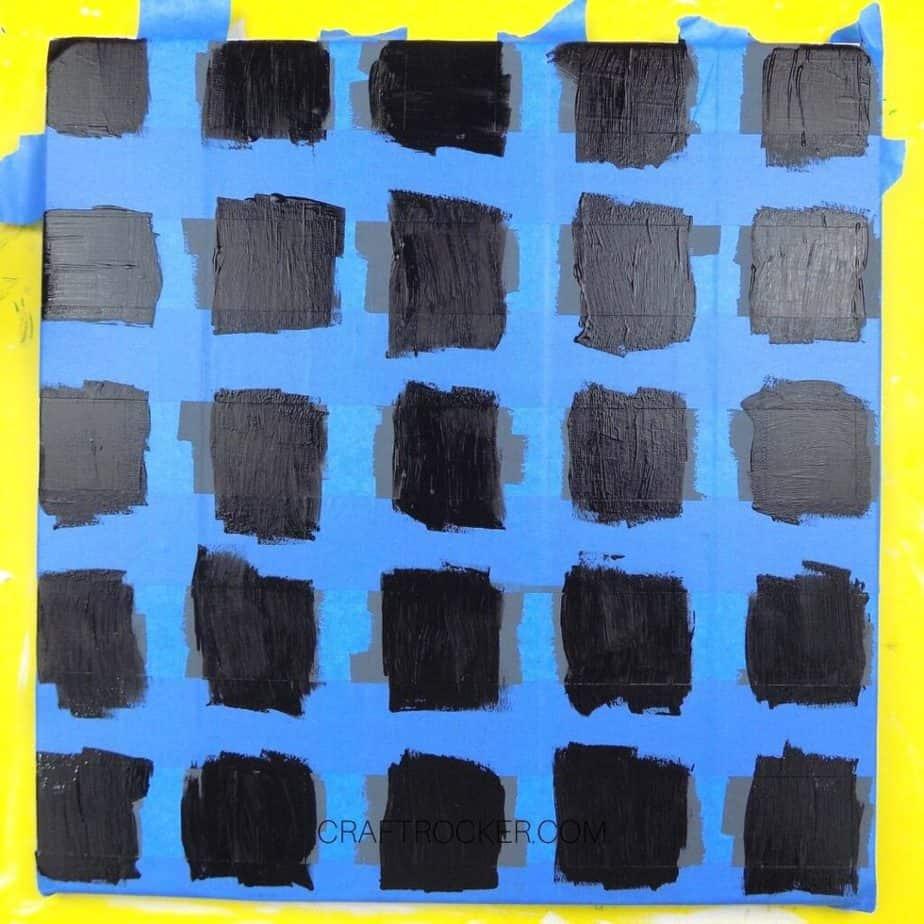 Black Painted Squares on Taped Pallet - Craft Rocker