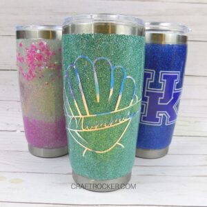 Close Up Glitter Tumblers on Wood Background - Craft Rocker