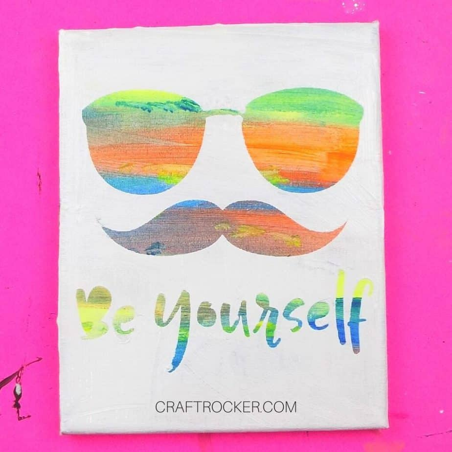 Close Up of Be Yourself Hot Mess Canvas - Craft Rocker