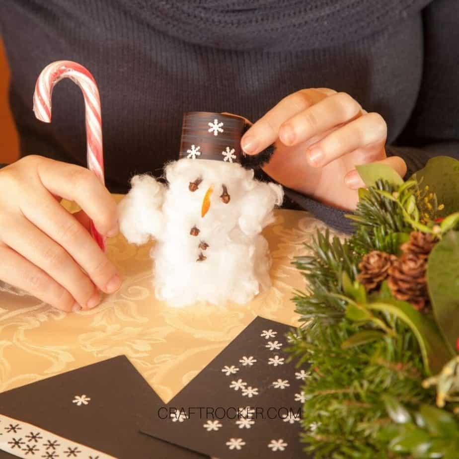 Close Up of Cotton Ball Snowman - Craft Rocker