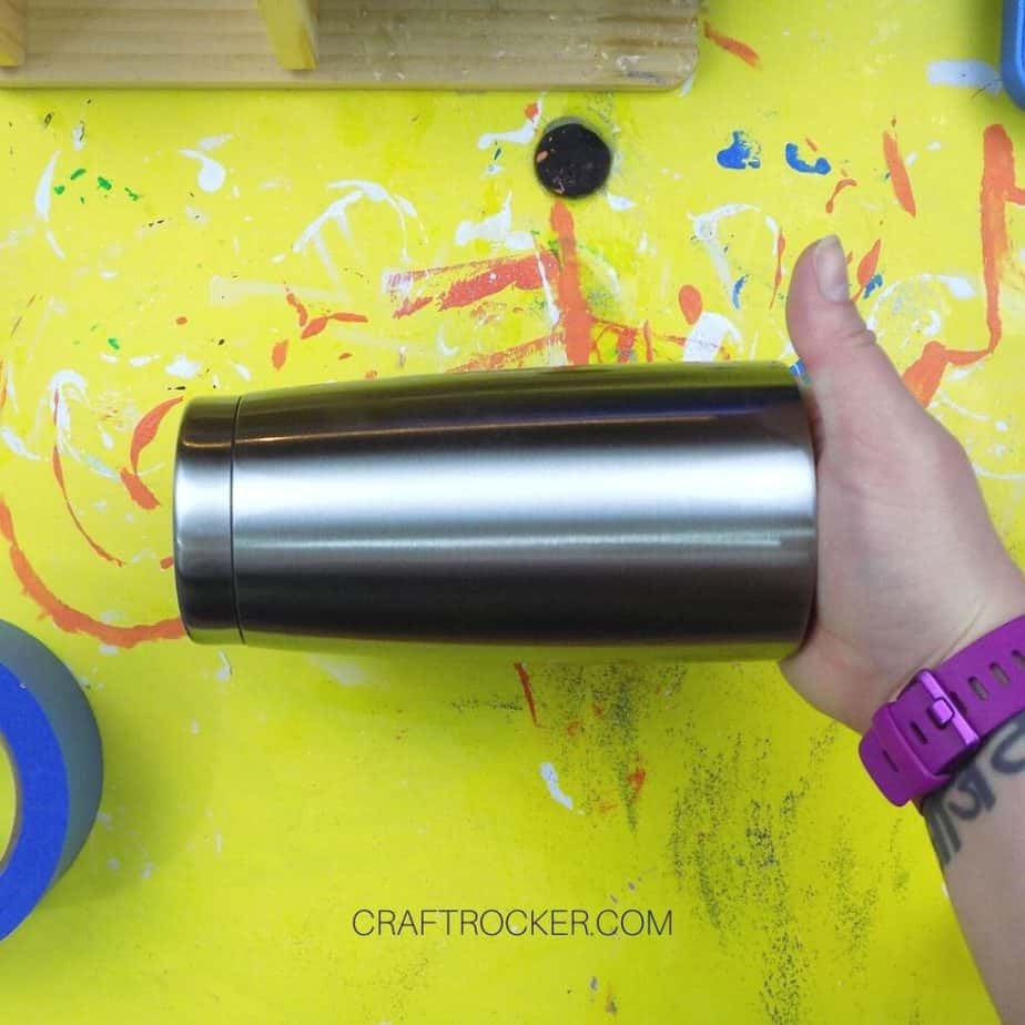 Close Up of Hand Holding Stainless Steel Tumbler - Craft Rocker