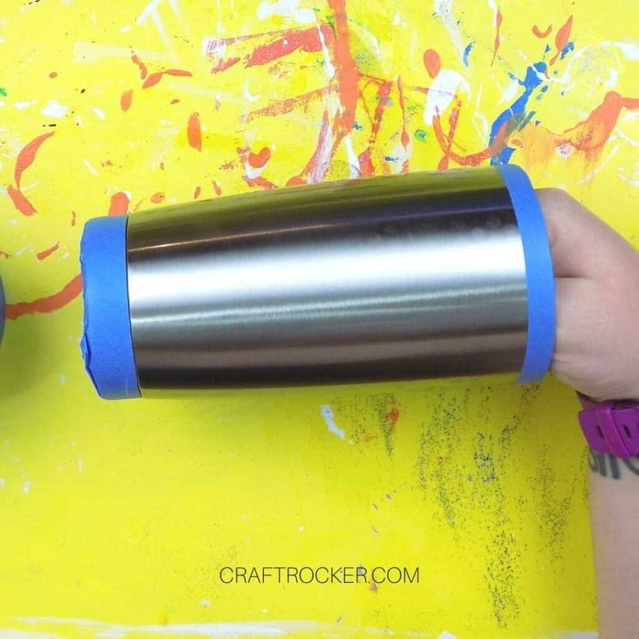 Close Up of Stainless Steel Tumbler with Tape on the Ends - Craft Rocker
