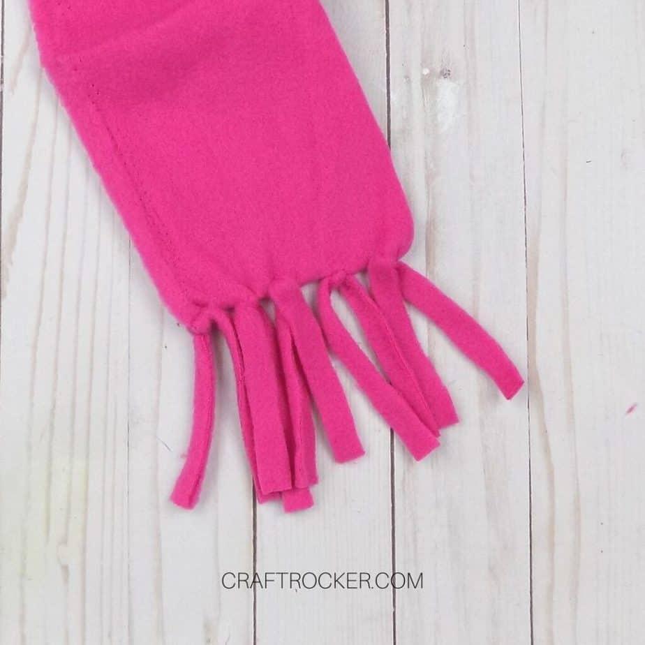 Close Up of Tied Fringe on Hot Pink Fleece - Craft Rocker