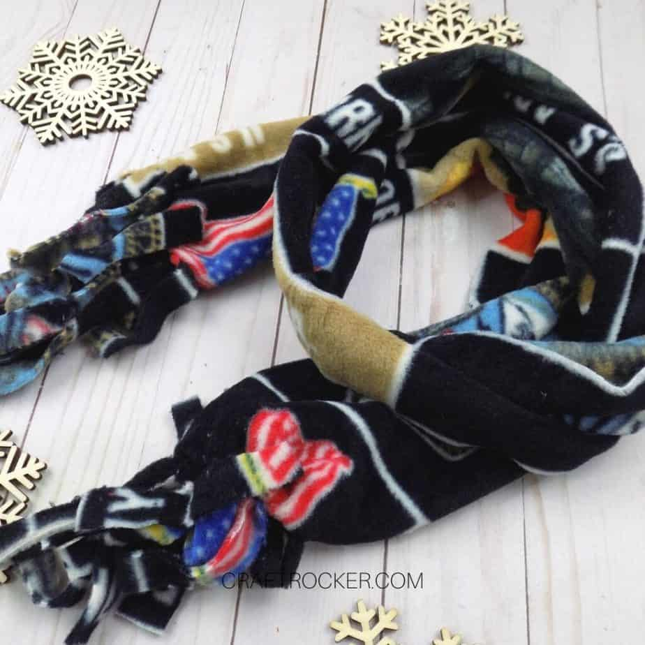 Close Up of Wrapped Army Fleece Scarf - Craft Rocker