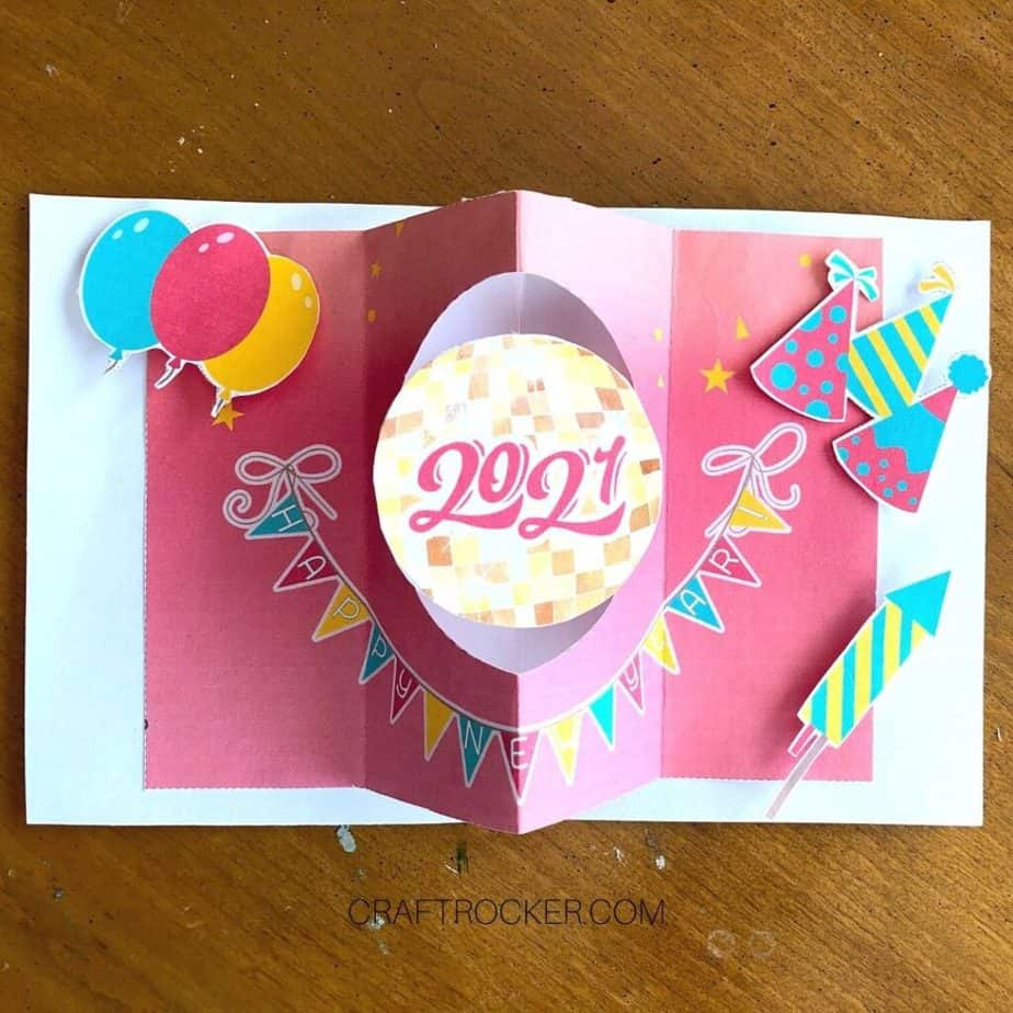 Decorative Elements Glued Inside of New Years Card - Craft Rocker