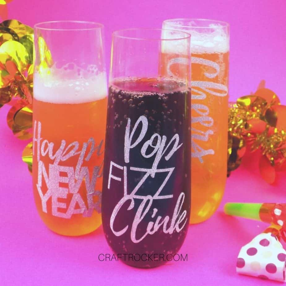 Filled DIY New Year's Champagne Flutes - Craft Rocker