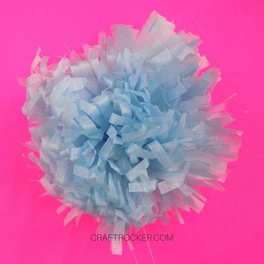 Fluffed Blue Tissue Paper Pom Pom - Craft Rocker