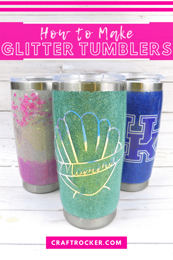 Glitter Tumblers on Wood Background with text overlay - How to Make Glitter Tumblers - Craft Rocker
