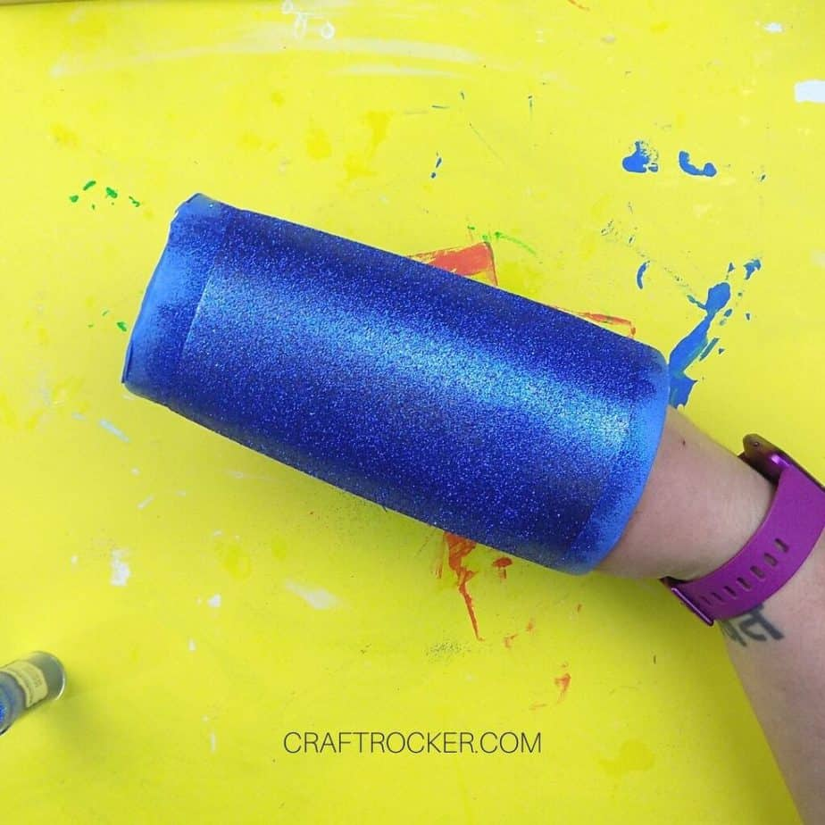 Hand Holding Blue Glitter Tumbler - Craft Rocker