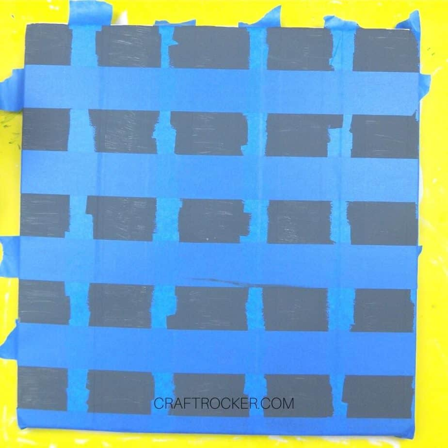 Horizontal Strips of Blue Tape over Dark Gray Paint on Taped Pallet - Craft Rocker