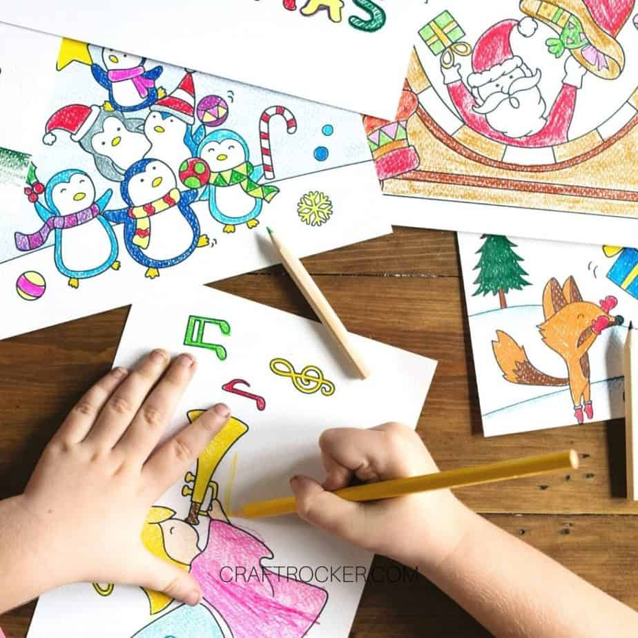 Kids Hands Coloring a Picture next to other Colored Pictures - Craft Rocker