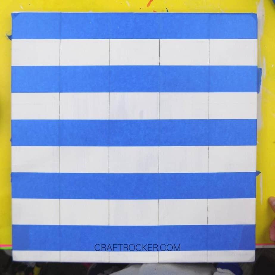 Lines of Blue Tape on White Pallet - Craft Rocker