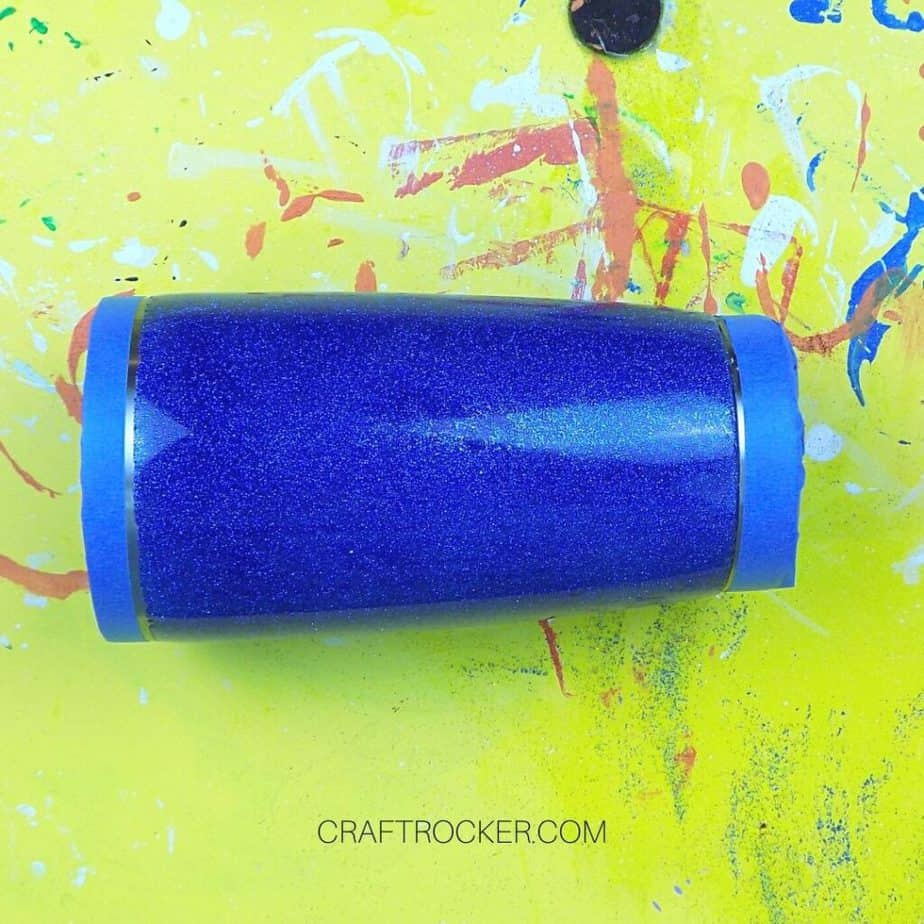 Painters Tape on Ends of Blue Glitter Resin Tumbler - Craft Rocker