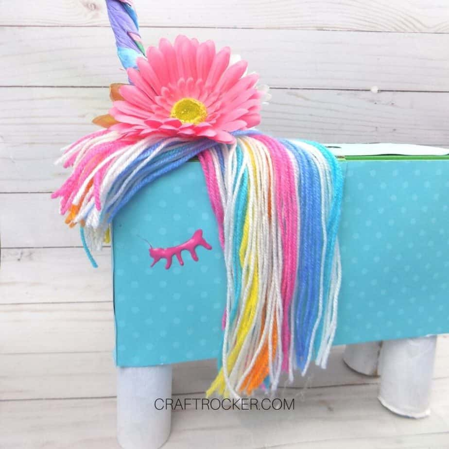 Side View of Rainbow Unicorn Valentine Box - Craft Rocker