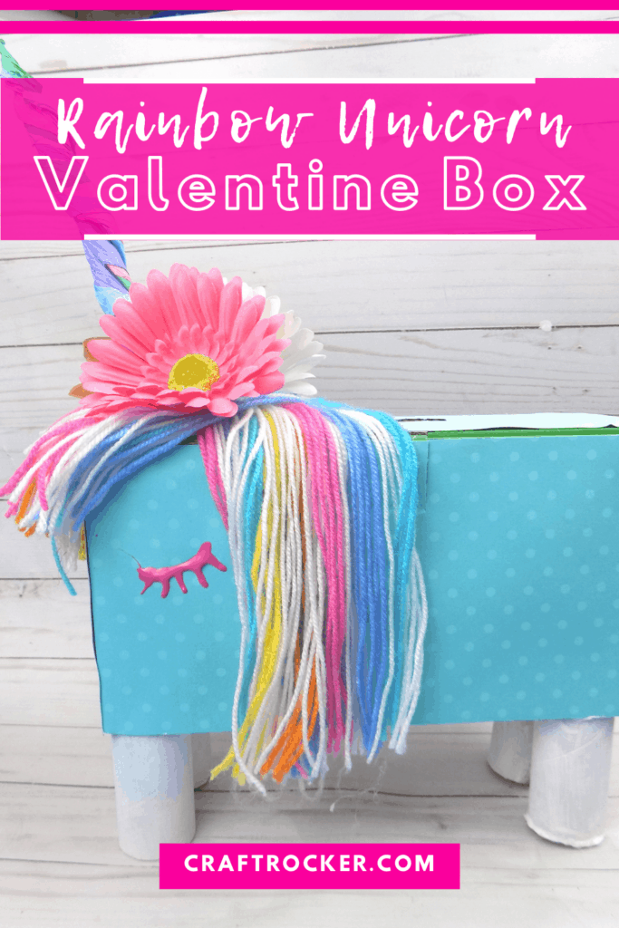 Side View of Unicorn Box with text overlay - Rainbow Unicorn Valentine Box - Craft Rocker