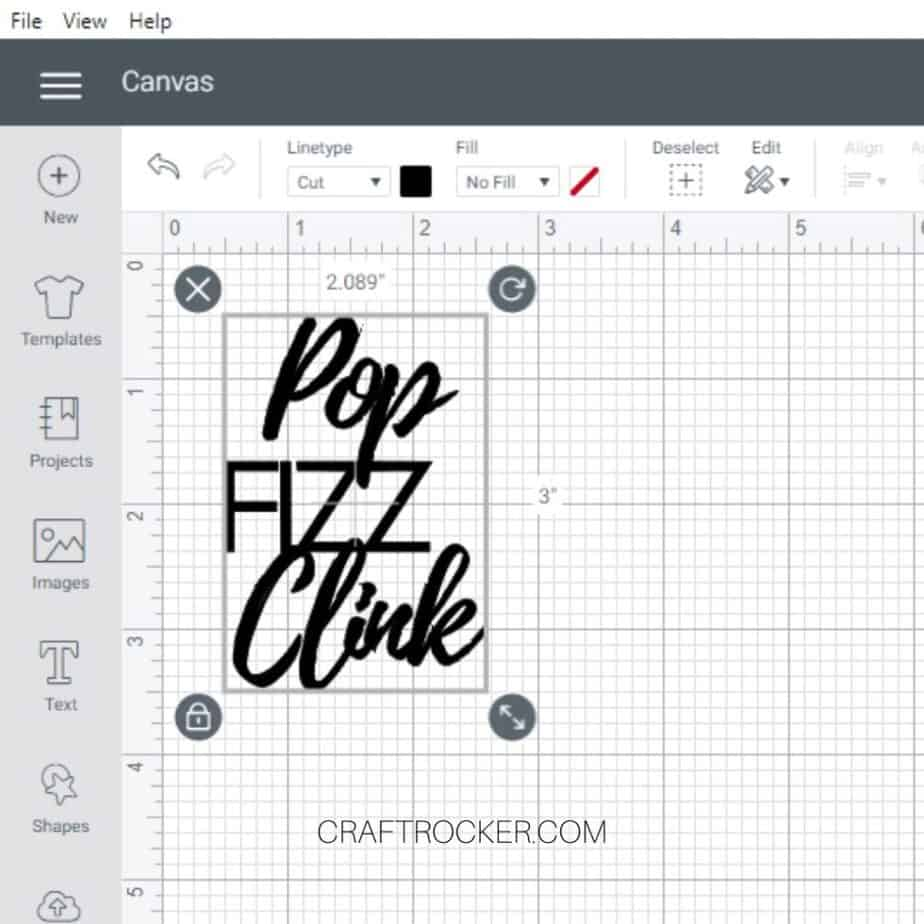 Size Dimensions of Pop Fizz Clink Image on Cricut Design Space Canvas - Craft Rocker