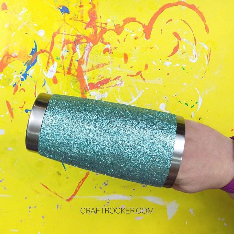 Tape Removed from Teal Glitter Stainless Steel Tumbler - Craft Rocker
