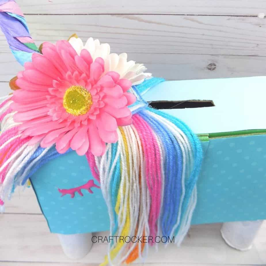 Top Angle View of Rainbow Unicorn Valentine Box - Craft Rocker