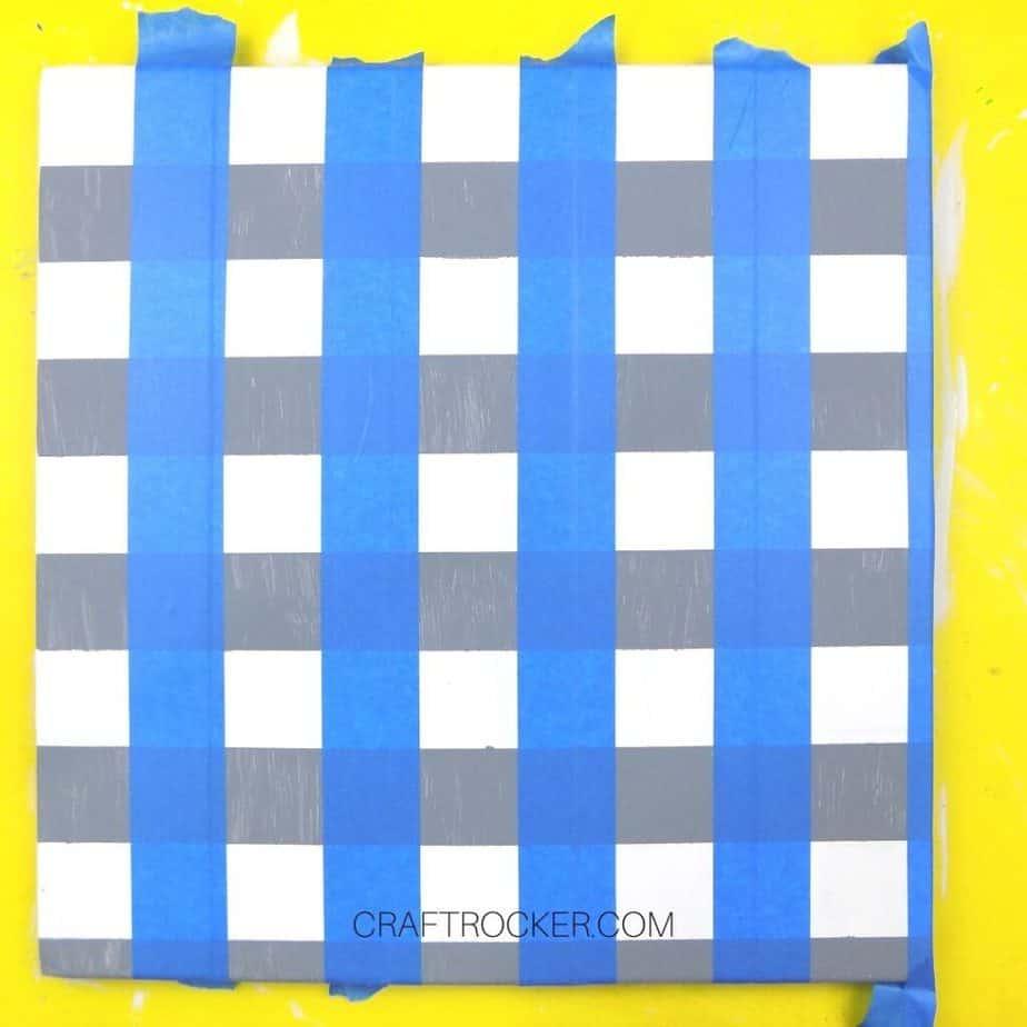 Vertical Blue Tape Strips on Gray Striped Pallet - Craft Rocker