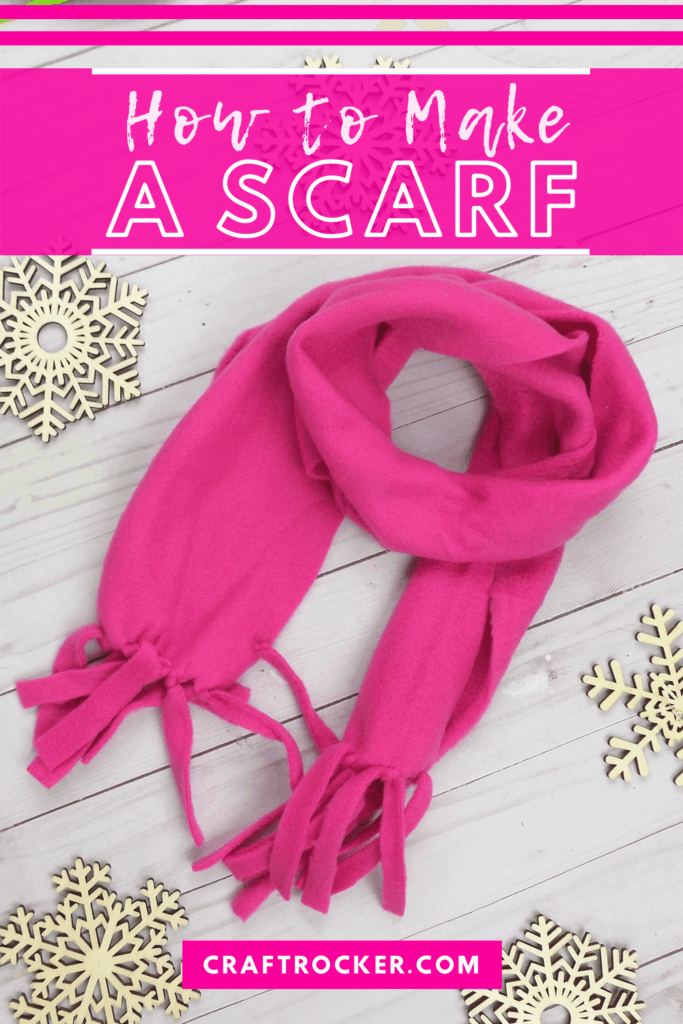 Wrapped Pink Fleece Fabric Scarf with text overlay - How to Make a Scarf - Craft Rocker