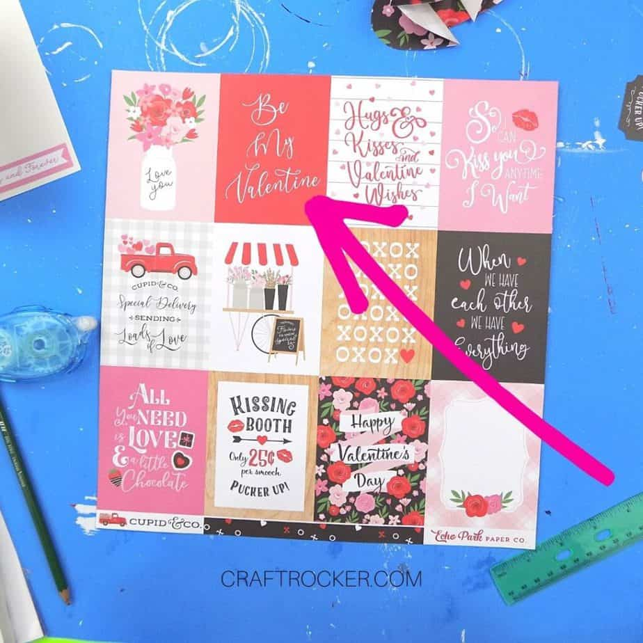 12 x 12 Valentine Tags Sheet with Large Pink Arrow Pointing to Be My Valentine Tag - Craft Rocker