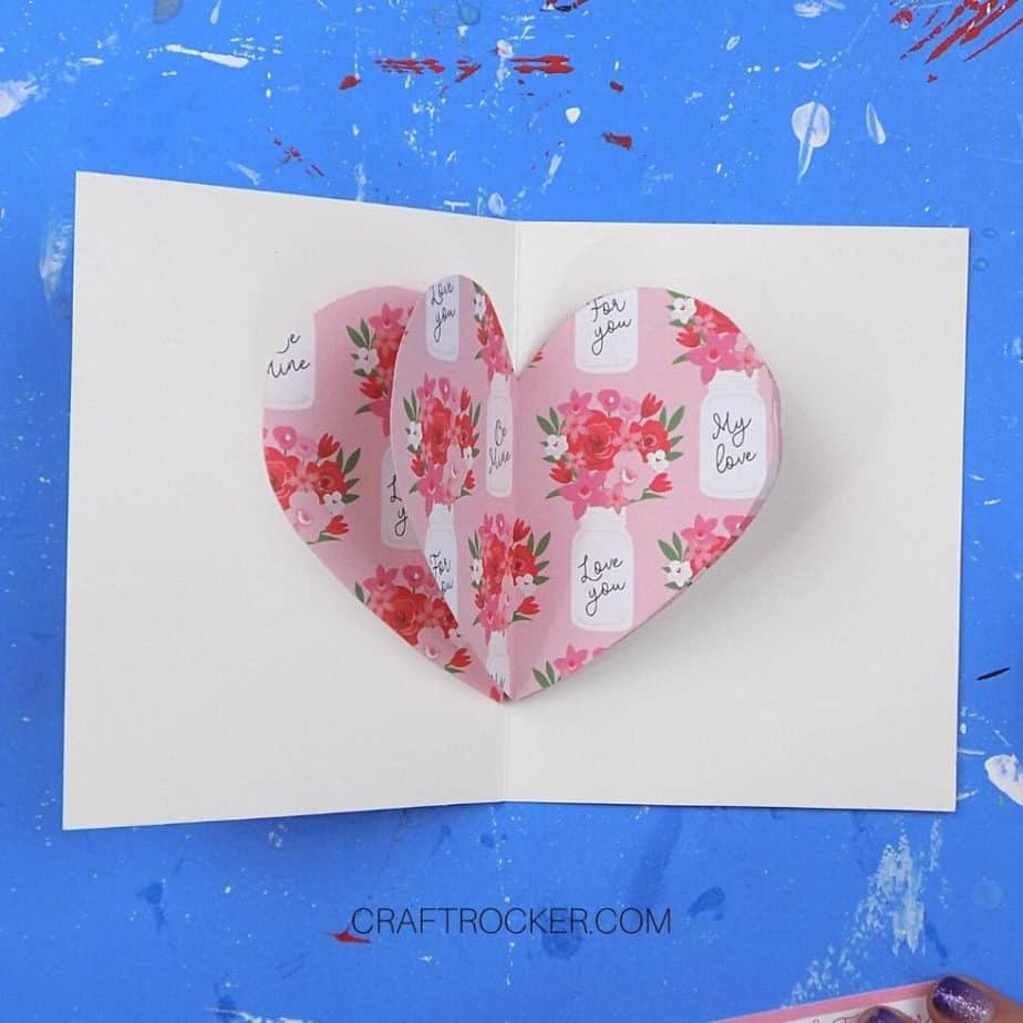 3D Decorative Paper Heart Attached to Inside of Greeting Card - Craft Rocker