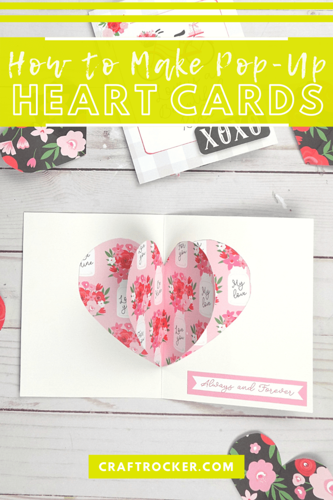 3D Heart Valentine Card next to Paper Hearts with text overlay - How to Make Pop-Up Heart Cards - Craft Rocker