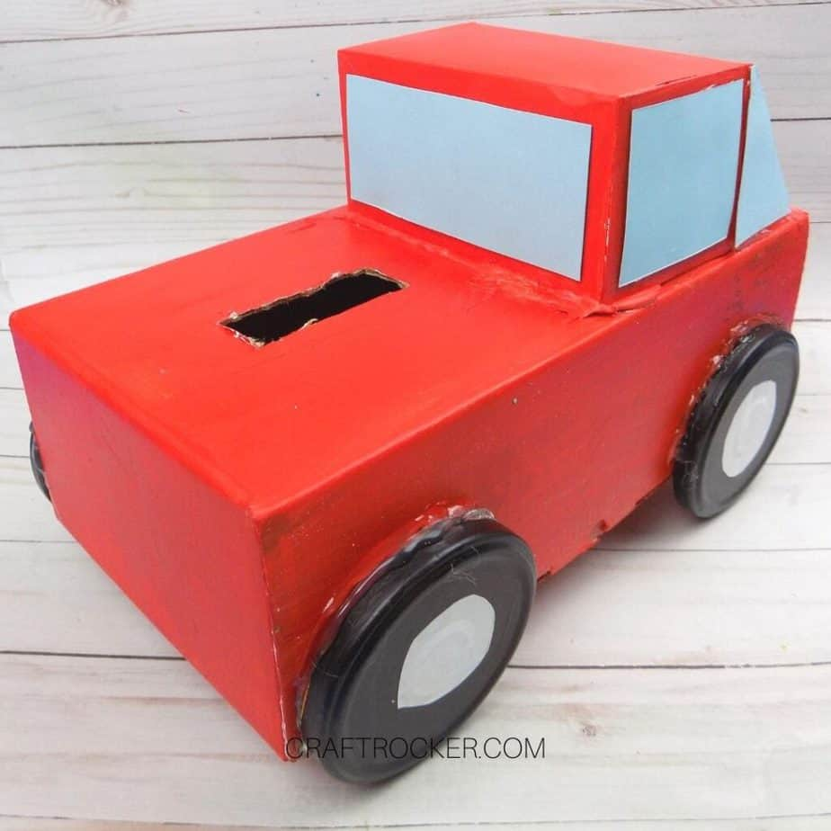 Back View of Red Pickup Truck Valentine Box - Craft Rocker