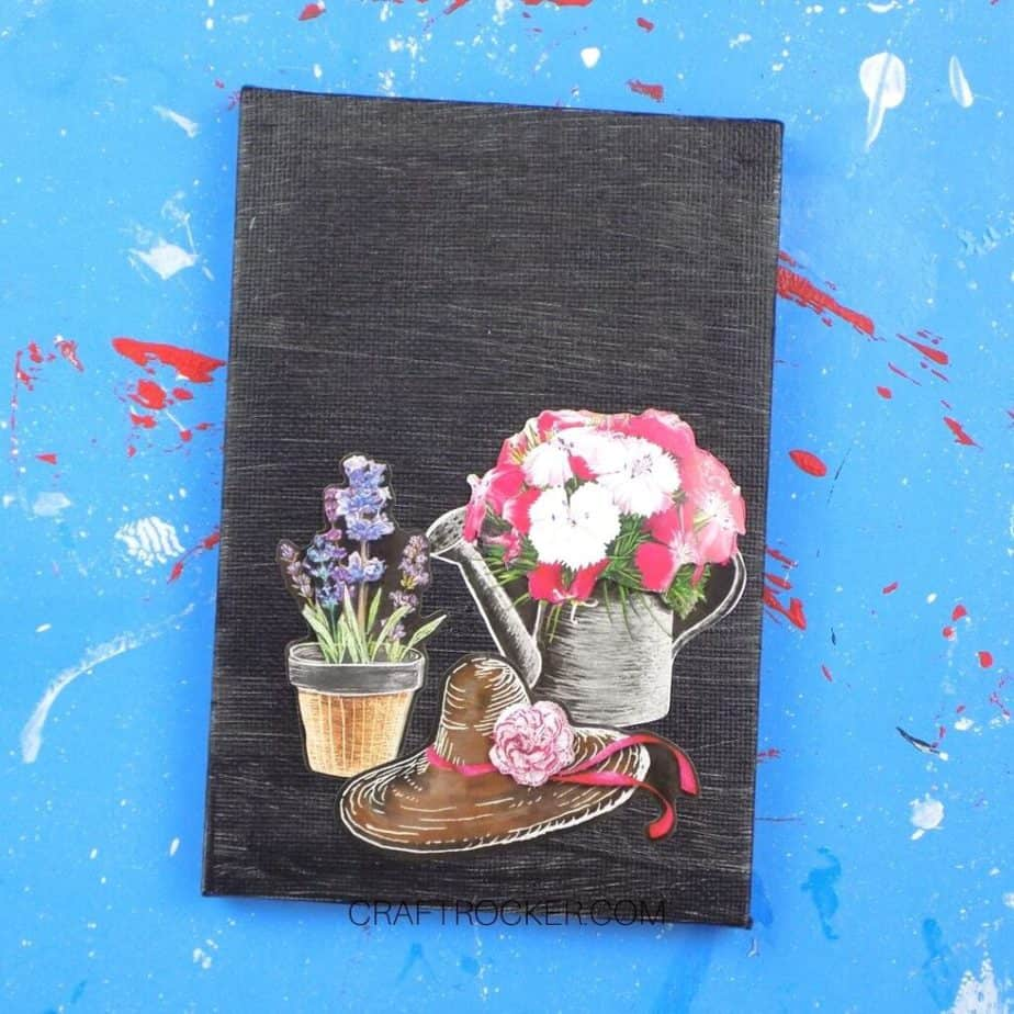 Close Up of Flower Stickers on Black Canvas - Craft Rocker